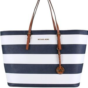 Navy and white striped MK Tote